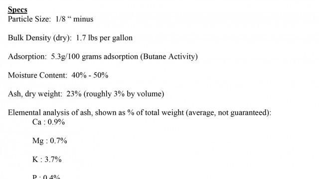 Macadamia nut shell biochar, spec sheet