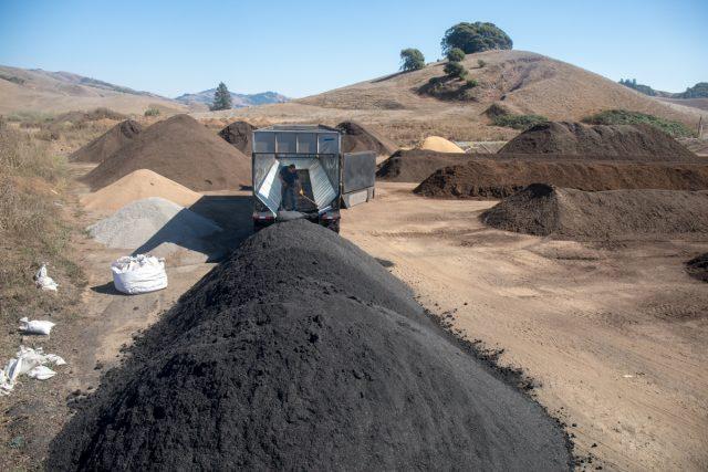 bulk load of biochar delivered to compost yard