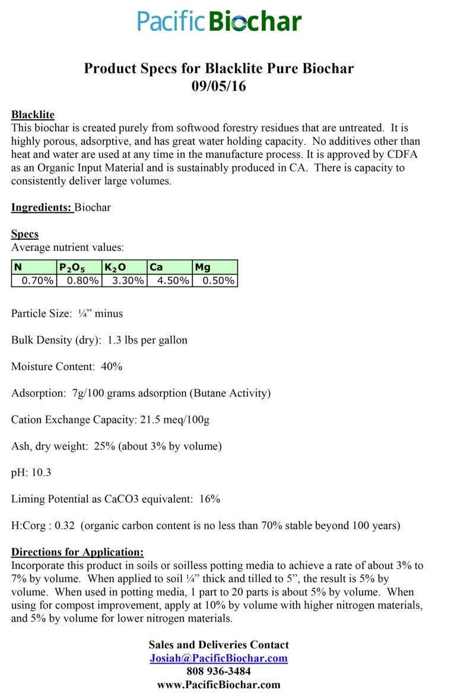 Blacklite Pure biochar, spec sheet