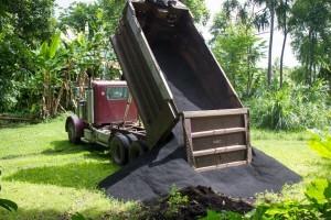 biochar by the dump truck