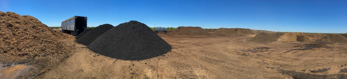biochar unloading at a compost yard