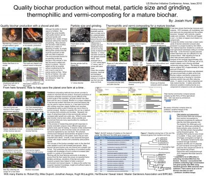 2010 Poster: Quality biochar production without metal, particle size and grinding, thermophilic and vermicomposting for a mature biochar