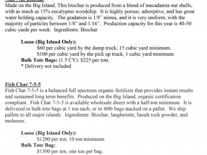 Biochar Price Sheet for Hawaii