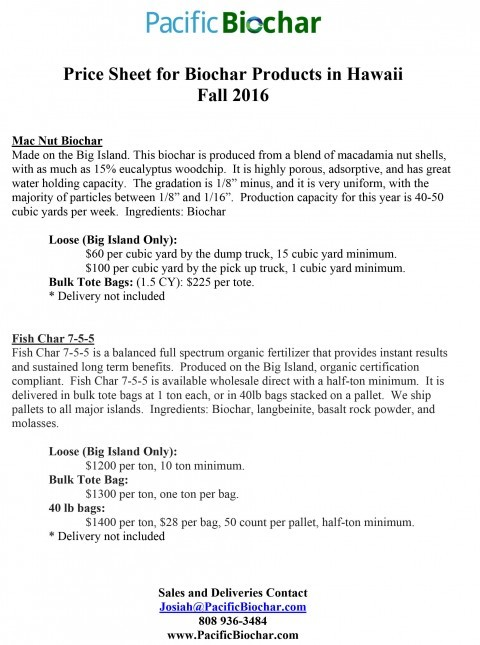 Price Sheet for Biochar products in Hawaii, Fall 2016