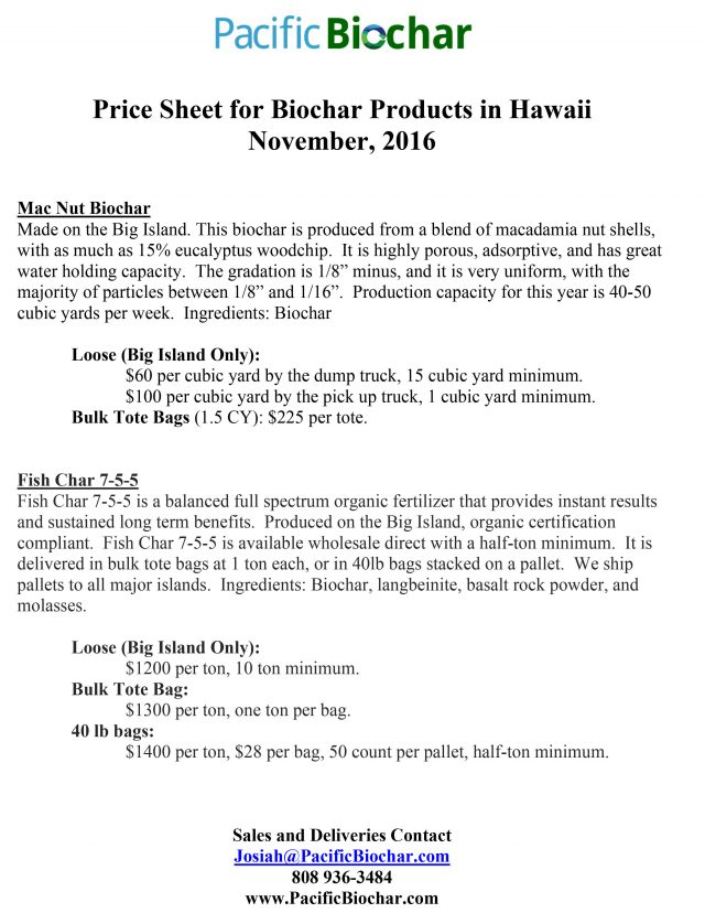 Biochar Product Price sheet for Hawaii, Fall 2016