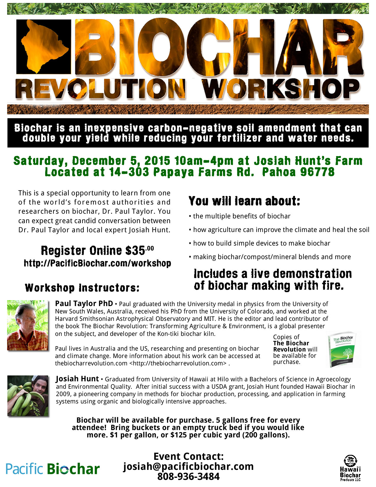 Biochar Revolution Workshop December 5th, 2015