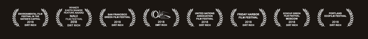 Dirt Rich the Movie accolades in a movie banner.