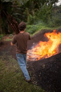 biochar burn at Josiah Hunt's farm