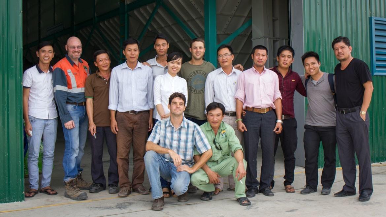 the staff at EcoFarm biochar production technology installation