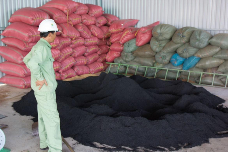 small biochar pile at EcoFarm